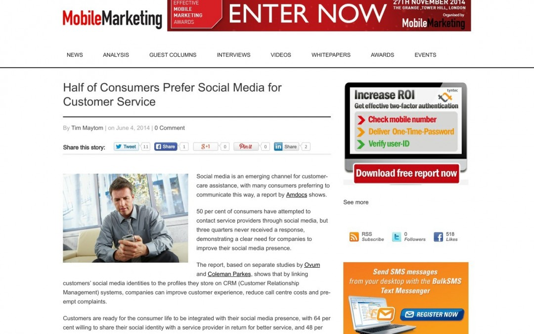 Half of Consumers Prefer Social Media for Customer Service